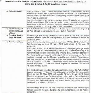 Merkblatt zu den Rechten und Pflichten von Ausländern, denen subsidiärer Schutz im Sinne des § 4 Abs. 1 AsylGzuerkannt wurde